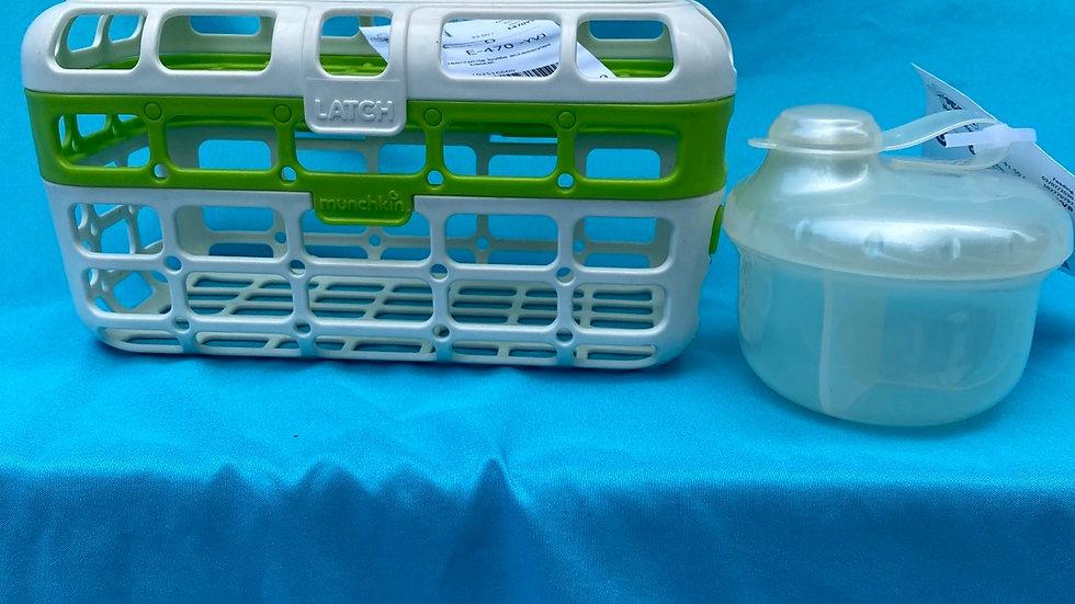 Munchkin green bottle basket, white formula dispenser