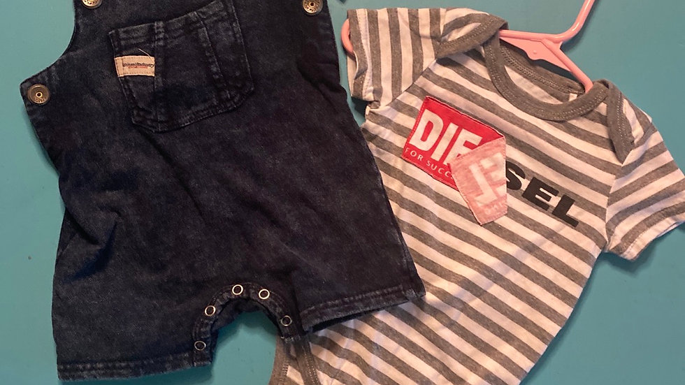 Size 12mo, NEW Diesel brand 2pcs (overalls are like jeggjngs)