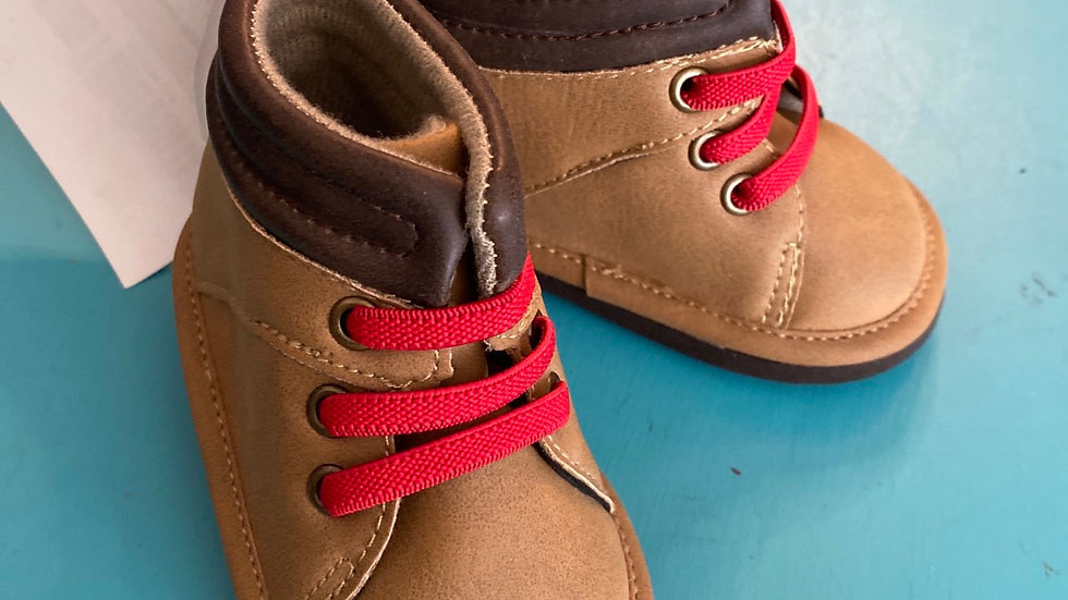 Little kid size 2, brown boots with red laces