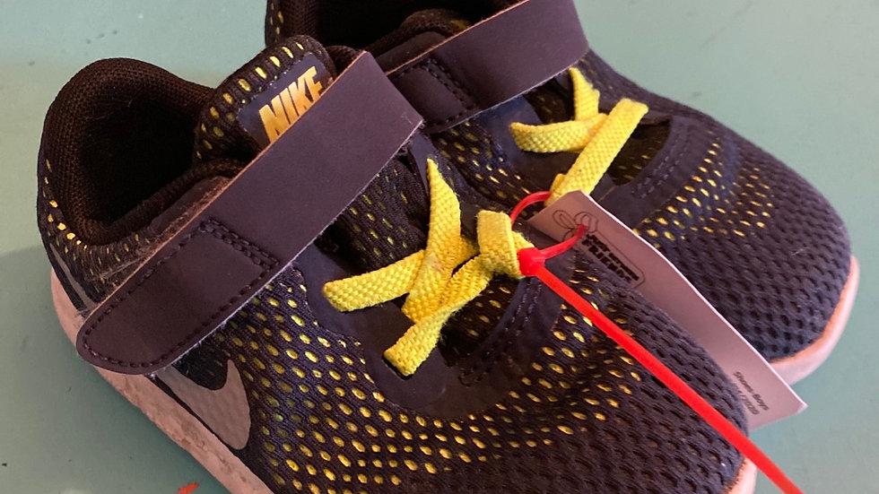 Little Kid Size 9, Nike navy, neon yellow