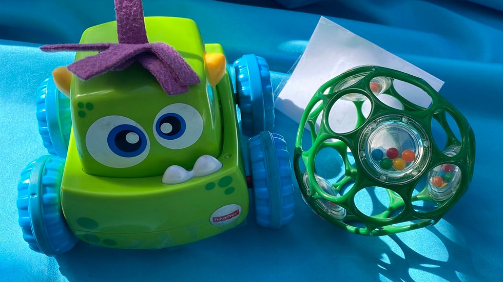 Fisher-Price green monster truck, green ball holes and rattle