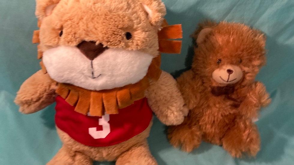 Plush lion & teddy bear