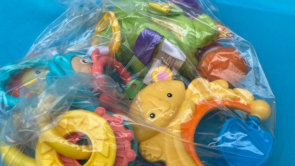 Infant stroller or play rattle, taggies, soft rattle