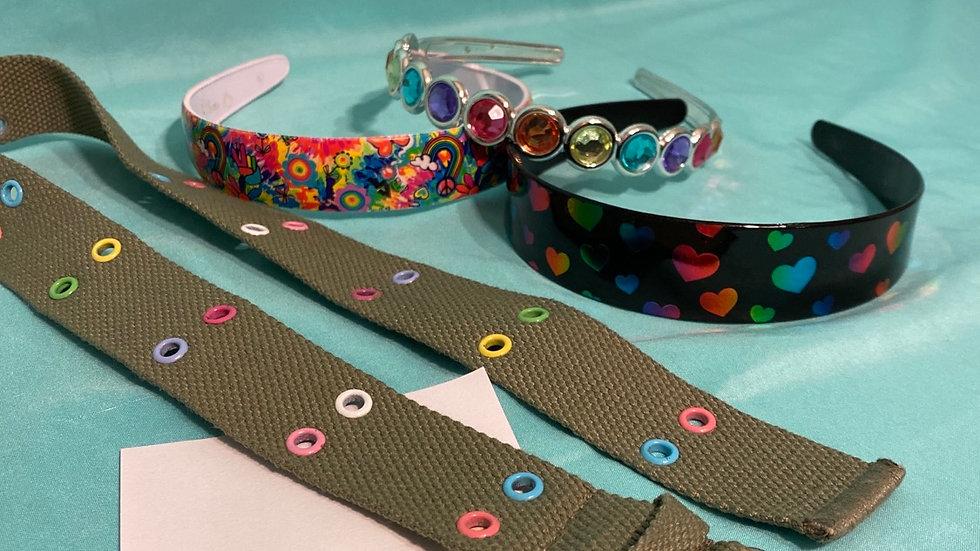 3 headbands, 1 belt
