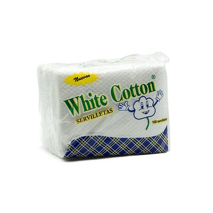 Paquete Servilletas Cuadrada White Cotton Cotton x 100 Unidades