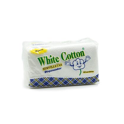 Paquete Servilletas White Cotton Dispensador Económico x 100 Unidades