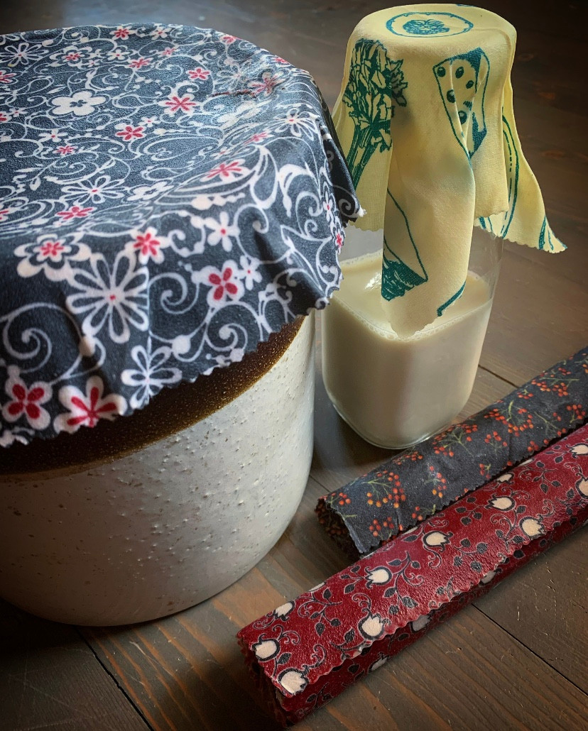 Beeswax wrap covered jars