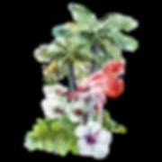 Tropical Flowers & Flamingo