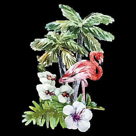 Tropische Blumen und Flamingo