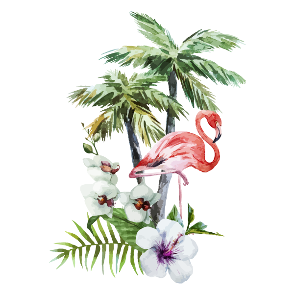 Tropical Flowers & Flamingo