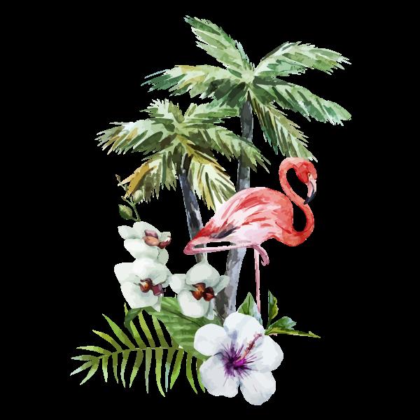 Tropische Bloemen & Flamingo