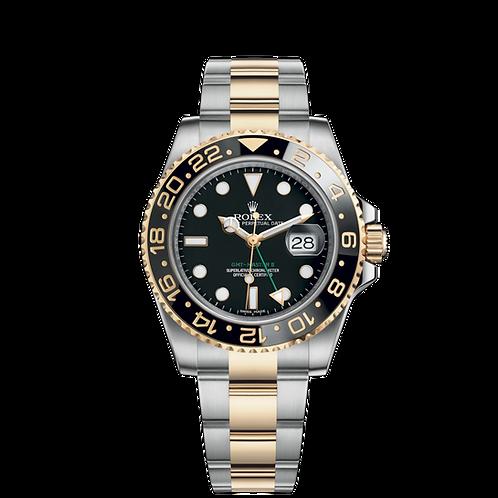 Rolex GMT Master II 116713LN, 黃金鋼錶殼, 4小時漸進刻度陶質字圈, 3186型機芯.