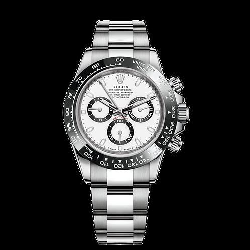 Rolex Daytona 116500 white-0001, 蠔式鋼錶殼, 黑色陶質外圈, 白色錶面.