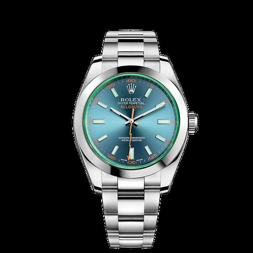 Rolex Milgauss 116400GV-0002, 蠔式鋼錶殼, 磨光外圈, 電光藍色錶面.