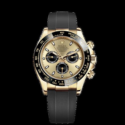 Rolex Daytona 116518LN Champ & black-0048, 18ct黃金錶殼, 黑色陶質外圈, 香檳色及黑色錶面.