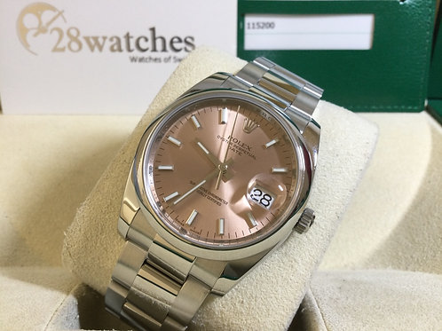 Pre-Owned Rolex Oyster Perpetual Date 115200 Pink 二手,AD發票,停產  - 銅鑼灣店