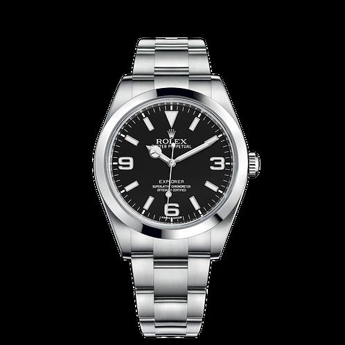 Rolex Explorer 214270-0003, 蠔式鋼錶殼, 磨光外圈, 黑色錶面