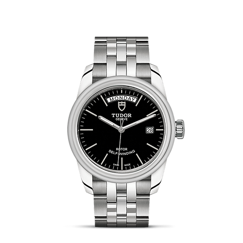 Tudor GLAMOUR DATE + DAY 56000, 磨光鋼錶殼, 磨光鋼雙外圈, 黑色錶面.