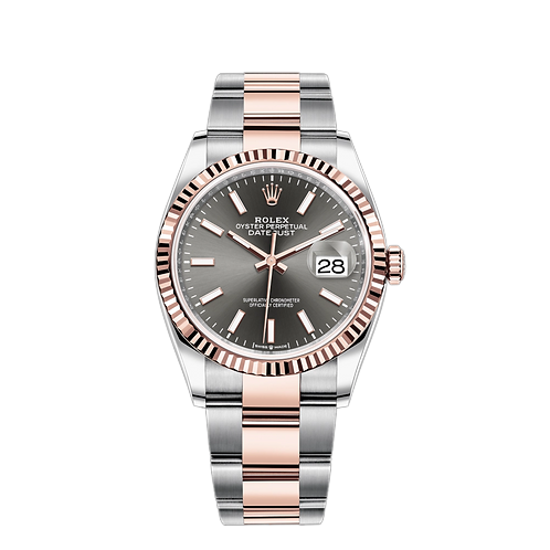 Rolex DATEJUST 126231, 永恒玫瑰金鋼錶殼, 三角坑紋外圈, 深銠白色錶面