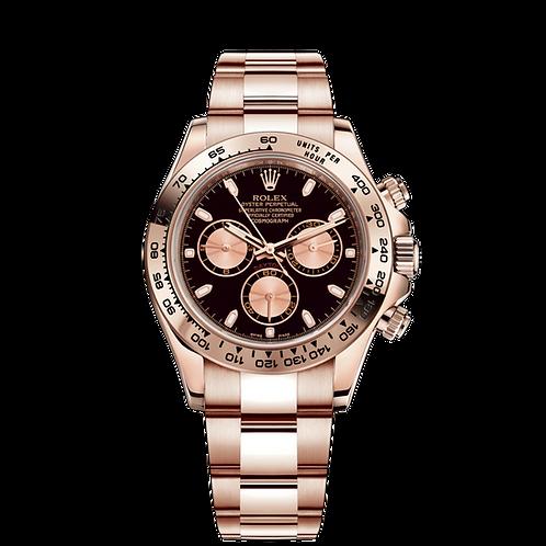 Rolex Daytona 116505 black-0008, 18ct永恒玫瑰金錶殼, 黑色及粉紅色錶面配蝸形小秒針盤.
