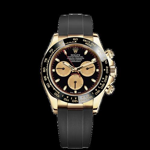 Rolex Daytona 116518LN Paul Newman-0047, 18ct黃金錶殼, 黑色陶質外圈, 黑面金圈.
