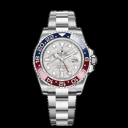 Rolex GMT MASTER II 126719BLRO 隕石面, 白色黃金錶殼, 藍紅雙色陶質字圈, 隕石錶面.