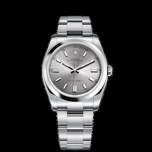 Rolex OYSTER PERPETUAL 116000-0009, 蠔式鋼錶殼, 圓拱形外圈, 不銹鋼色錶面.
