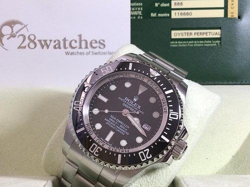 Pre-Owned Rolex Sea-Dweller Deepsea 116660 Black 二手行貨,AD發票,內影,停產,齊格,G頭 - 銅鑼灣店