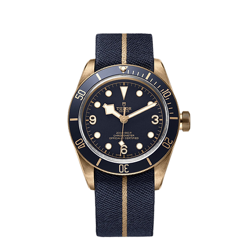 Tudor Heritage Black Bay 79250BB, 藍色錶面, 青銅單向旋轉60分鐘刻度外圈, 43 mm錶殼.