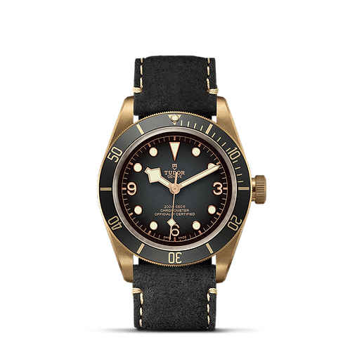 Tudor Black Bay Bronz 79250BA, 煙燻灰面錶盤, 皮帶, MT5601帝舵表原廠自動上鏈機械機芯.