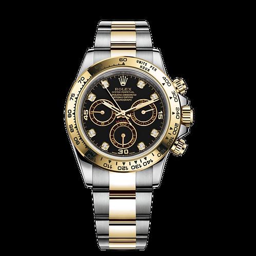 Rolex Daytona 116503G Black-0008, 黃金鋼錶殼, 黑色鑲有鑽石寶石鑲嵌,18ct金鑲托鑲有鑽石錶面, 18ct黃金固定外圈.