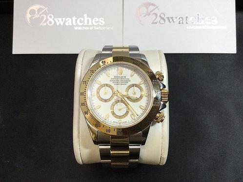 Pre-Owned Rolex Daytona 116523 WHT 二手,淨錶,停產,有上行紙,奶面,Y頭 - 銅鑼灣店