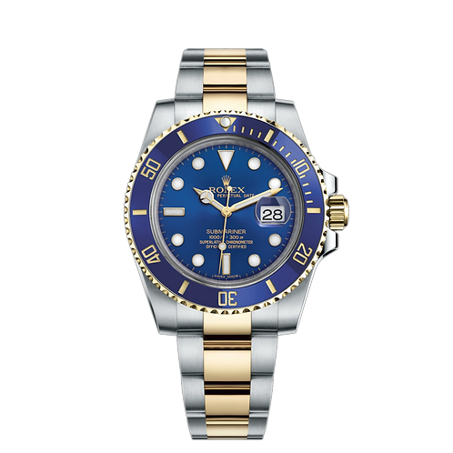 Rolex Submariner Date 116613LB-0005, 黃金鋼錶殼, 60分鐘刻度陶質字圈, 藍色錶面