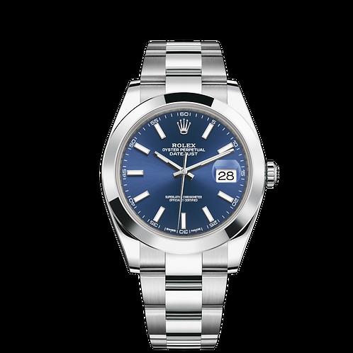 Rolex Datejust 126300-0001, 蠔式鋼錶殼, 磨光外圈, 藍色錶面, 小窗凸透鏡放大日曆