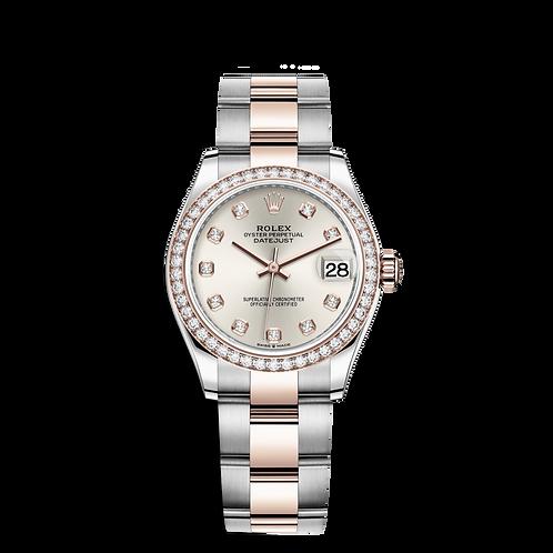 Rolex DATEJUST 278381RBR, 永恒玫瑰金鋼錶殼, 鑲有鑽石外圈, 銀色鑲有鑽石錶面.