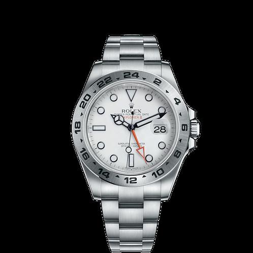 Rolex Explorer II 216570 White-0001, 蠔式鋼錶殼, 24小時刻度外圈, 白色錶面.