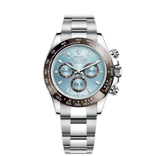 Rolex DAYTONA 116506-0001,冰藍錶面及鉑金錶殼.