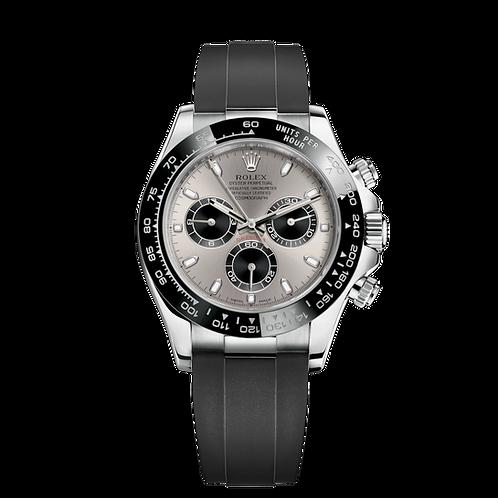 Rolex Daytona 116519LN Grey-0027, 18ct白色黃金錶殼, 黑色陶質外圈, 灰面.