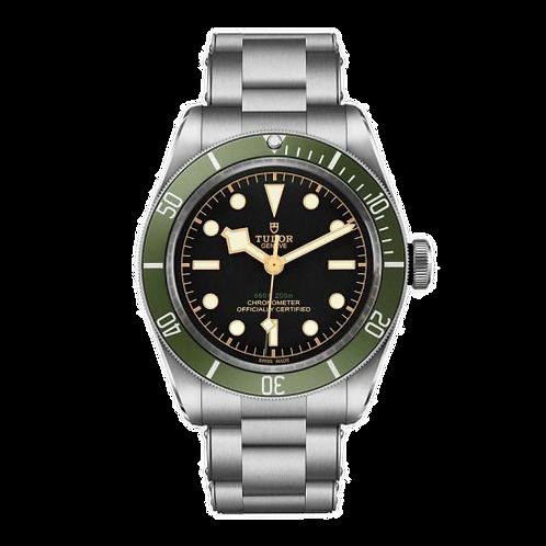 Tudor Black Bay 79230G, 精鋼錶殼錶帶, 黑色錶盤, 綠色錶圈.