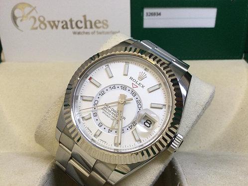 Pre-Owned Rolex Sky-Dweller 326934 White 二手行貨,AD發票,五年保養,板帶,年暦,亂碼,齊格,藍光  - 銅鑼灣店