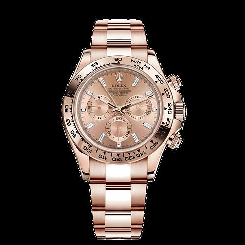 Rolex Daytona 116505A-0012, 18ct永恒玫瑰金錶殼, 粉紅色錶面. 8顆方形切割鑽石鐘點標記, 3,6,9鐘點標記另鑲3顆鑽石.