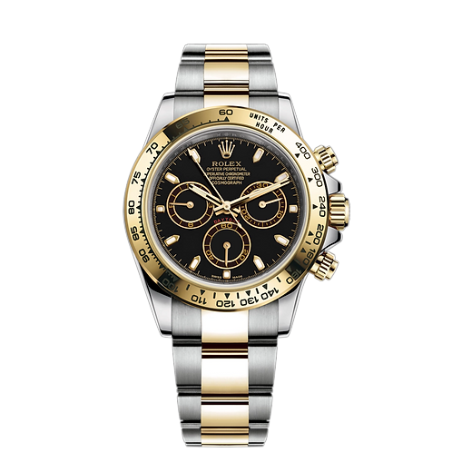 Rolex Daytona 116503 Black-0004, 黃金鋼錶殼, 黑色錶面, 18ct黃金固定外圈.