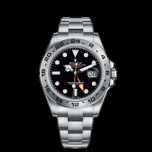 Rolex Explorer II 216570 Black-0002, 蠔式鋼錶殼, 24小時刻度外圈, 黑色錶面.