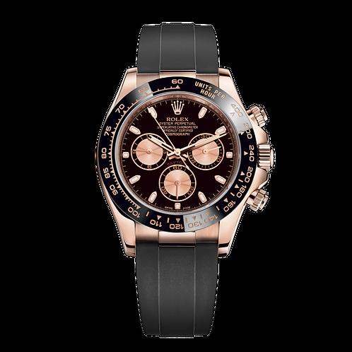 Rolex Daytona 116515LN black-0017, 永恒玫瑰金錶殼, 黑色陶質外圈, 黑色及粉紅色錶面配蝸形小秒針盤.
