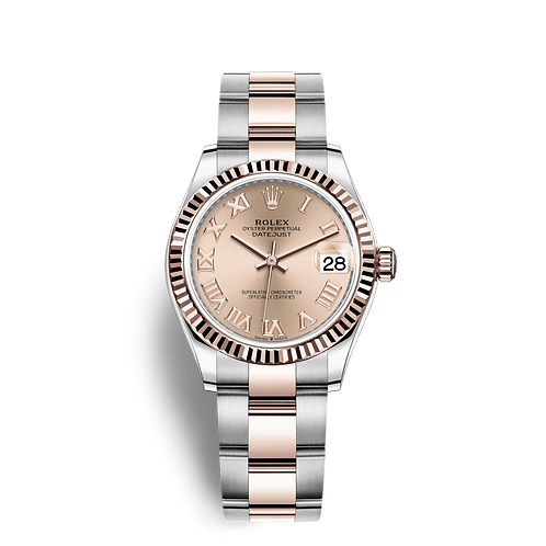 Rolex DATEJUST 278271, 永恒玫瑰金及蠔式鋼錶殼, 三角坑紋外圈,  粉紅色錶面.