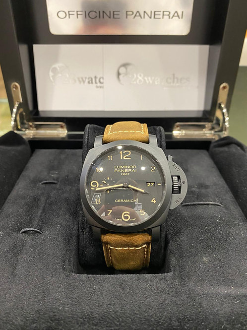 Pre-Owned Panerai Luminor 1950 3 Days GMT Automatic PAM00441 二手,停產,有上行紙 - 尖沙咀店