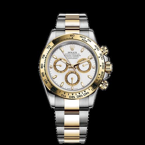 Rolex DAYTONA 116503-0001, 黃金鋼錶殼,  18ct黃金固定外圈, 白色錶面.