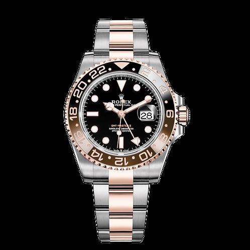 Rolex GMT-Master II 126711CHNR-0002, 永恒玫瑰金鋼錶殼, 黑色錶面, 雙色陶質字圈.