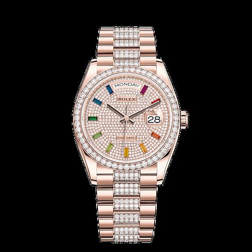 Rolex DAY DATE 128345RBR, 鑽石及永恒玫瑰金錶殼, 鑲有鑽石外圈, 密鑲鑽石錶面.