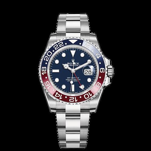 Rolex GMT MASTER II 126719BLRO, 白色黃金錶殼, 藍紅雙色陶質字圈, 藍色錶面.